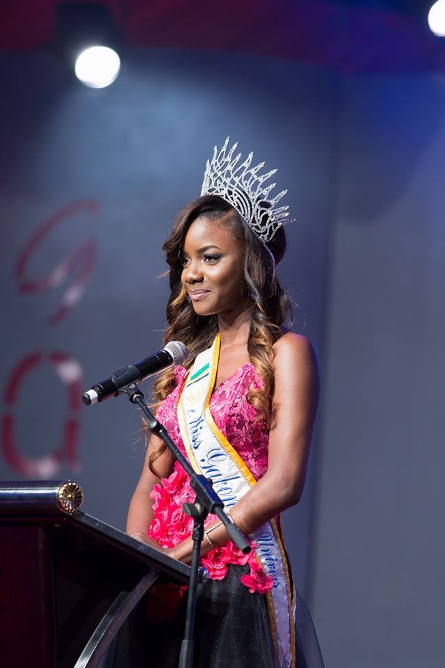 The Outgoing Queen Maggaly Nguema Speaks at Miss Gabon 2015 Gala