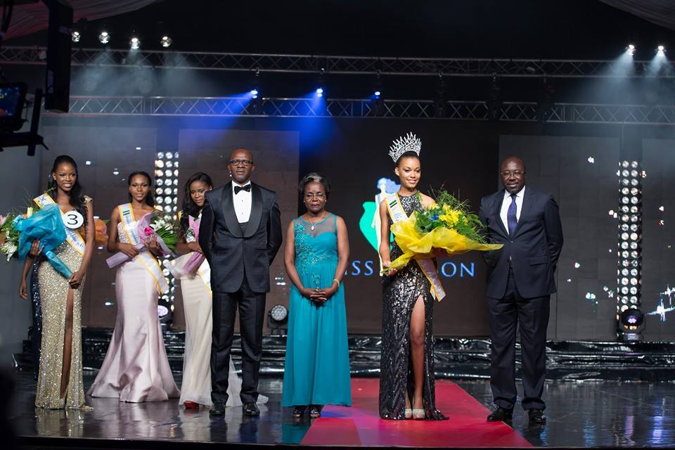 The Miss Gabon Organizers and Beauties on Stage