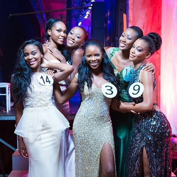 The Bevy of Gabon Beauties Pose on Stage