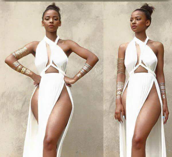 South African Model in Sexy Thigh Revealing Split Dress